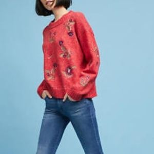 Anthro Harlyn Terese Embroidered pullover sweater